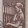 1954 Czechoslovakian Textile Worker Stamp by Bill Owen