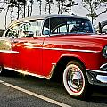 1955 Chevy Bel Air Down The Side - Red And White by Dennis Coates