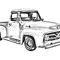 1955 F100 Ford Pickup Truck Illustration by Keith Webber Jr