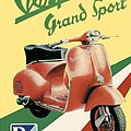 1955 - Vespa Grand Sport Motor Scooter Advertisement - Color by John Madison
