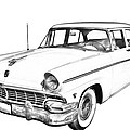 1956 Ford Custom Line Antique Car Illustration by Keith Webber Jr