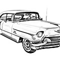 1956 Sedan Deville Cadillac Car Illustration by Keith Webber Jr