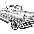 1957 Chevrolet Bel Air Convertible Illustration by Keith Webber Jr