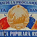 1957 Romanian Coat Of Arms And Flags Stamp by Bill Owen
