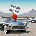 1957 Thunderbird  With F-84 Gunmetal Vintage Ford Classic Art Sketch Rendering           by John Samsen