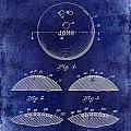 1958 Bowling Patent Drawing Blue by Jon Neidert