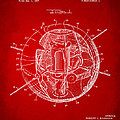 1958 Space Satellite Structure Patent Red by Nikki Marie Smith