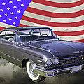 1960 Cadillac Luxury Car And American Flag by Keith Webber Jr