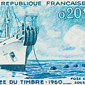1960 Day Stamp Installation Of A Submarine Cable by Jeelan Clark