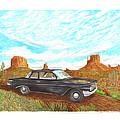 1961 Chevrolet Biscayne 409 In Monument Valley by Jack Pumphrey