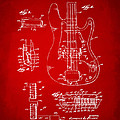 1961 Fender Guitar Patent Artwork - Red by Nikki Marie Smith