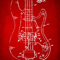 1961 Fender Guitar Patent Minimal - Red by Nikki Marie Smith