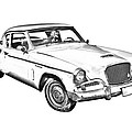 1961 Studebaker Hawk Coupe Illustration by Keith Webber Jr