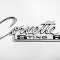1963 Chevrolet Corvette Split Window - Sting Ray Emblem -252bw by Jill Reger