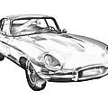 1964 Jaguar Xke Antique Sportscar Illustration by Keith Webber Jr