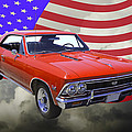 1966 Chevy Chevelle Ss 396 And United States Flag by Keith Webber Jr