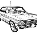 1966 Chevy Chevelle Ss 396 Illustration by Keith Webber Jr