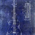 1966 Fender Acoustic Guitar Patent Drawing Blue by Jon Neidert