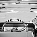 1967 Lincoln Continental Steering Wheel -014bw by Jill Reger