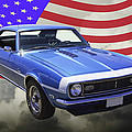 1968 Chevrolet Camaro 327 And United States Flag by Keith Webber Jr
