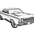 1968 Plymouth Roadrunner Muscle Car Illustration by Keith Webber Jr