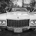 1970 Cadillac Coupe Deville Convertible Painted Bw by Rich Franco