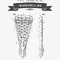 1970 Lacrosse Stick Patent Drawing - Retro Gray by Aged Pixel