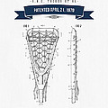 1970 Lacrosse Stick Patent Drawing - Retro Navy Blue by Aged Pixel