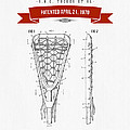 1970 Lacrosse Stick Patent Drawing - Retro Red by Aged Pixel