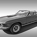 1970 Mach 1 Mustang 351 Cleveland In Black And White by Gill Billington