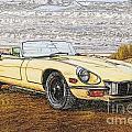 1974 Jaguar Xke Illustration by Dave Koontz