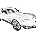 1975 Corvette Stingray Sports Car Illustration by Keith Webber Jr
