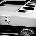 1979 Ferrari Taillight Emblem -0378bw by Jill Reger