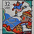 1996 Winter Skaters Stamp by Bill Owen