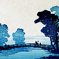 19th C. Japanese Father And Son Crossing Bridge by Historic Image