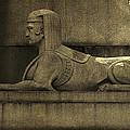 19th Century Granite Stone Sphinx Sepia Profile Poster Look Usa by Sally Rockefeller