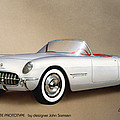 1953 Corvette Classic Vintage Sports Car Automotive Art by John Samsen