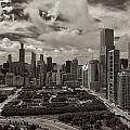 Aerial Chicago At Millennium Park by Joey Lax-Salinas