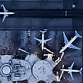 Airliners At  Gates And Control Tower by Michael H