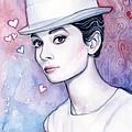 Audrey Hepburn Fashion Watercolor by Olga Shvartsur