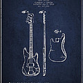 Bass Guitar Patent Drawing From 1960 by Aged Pixel