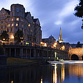 Bath City Spa Viewed Over The River Avon At Night by Mal Bray