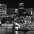 Beautiful Black And White Image Of London City At Night With Lov by Matthew Gibson