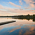 Beautiful Sunset Over Autumn Fall Lake With Crystal Clear Reflec by Matthew Gibson