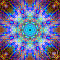 Blue Rainbow Star Mandala by Susan Bloom