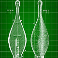 Bowling Pin Patent 1895 - Green by Stephen Younts