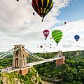 Bristol Balloon Fiesta Display Over Clifton Suspension Bridge by Daugirdas Racys