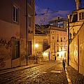 Calcada Da Gloria Street At Night In Lisbon by Artur Bogacki