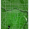 Calgary Street Map - Calgary Canada Road Map Art On Colored Back by Jurq Studio