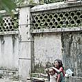 Children On Street Of Yangon Myanmar by Jacek Malipan